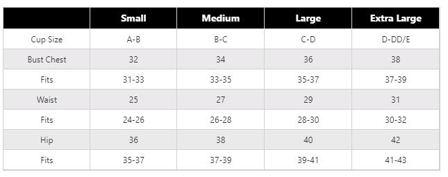 Dezoti Bikini Size Chart